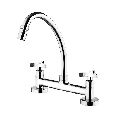 Kitchen deck mount mixer faucet - Movable spout