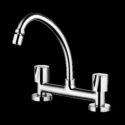 Kitchen deck mount mixer faucet - Movable spout