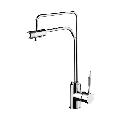 Kitchen monocontrol deck mount mixer with option for water filtered